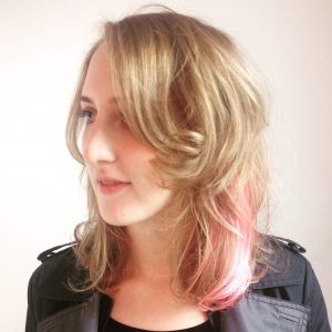 Long Hair Style Blonde and Powder Pink
