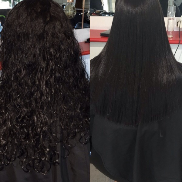 before and after keratin smoothing results