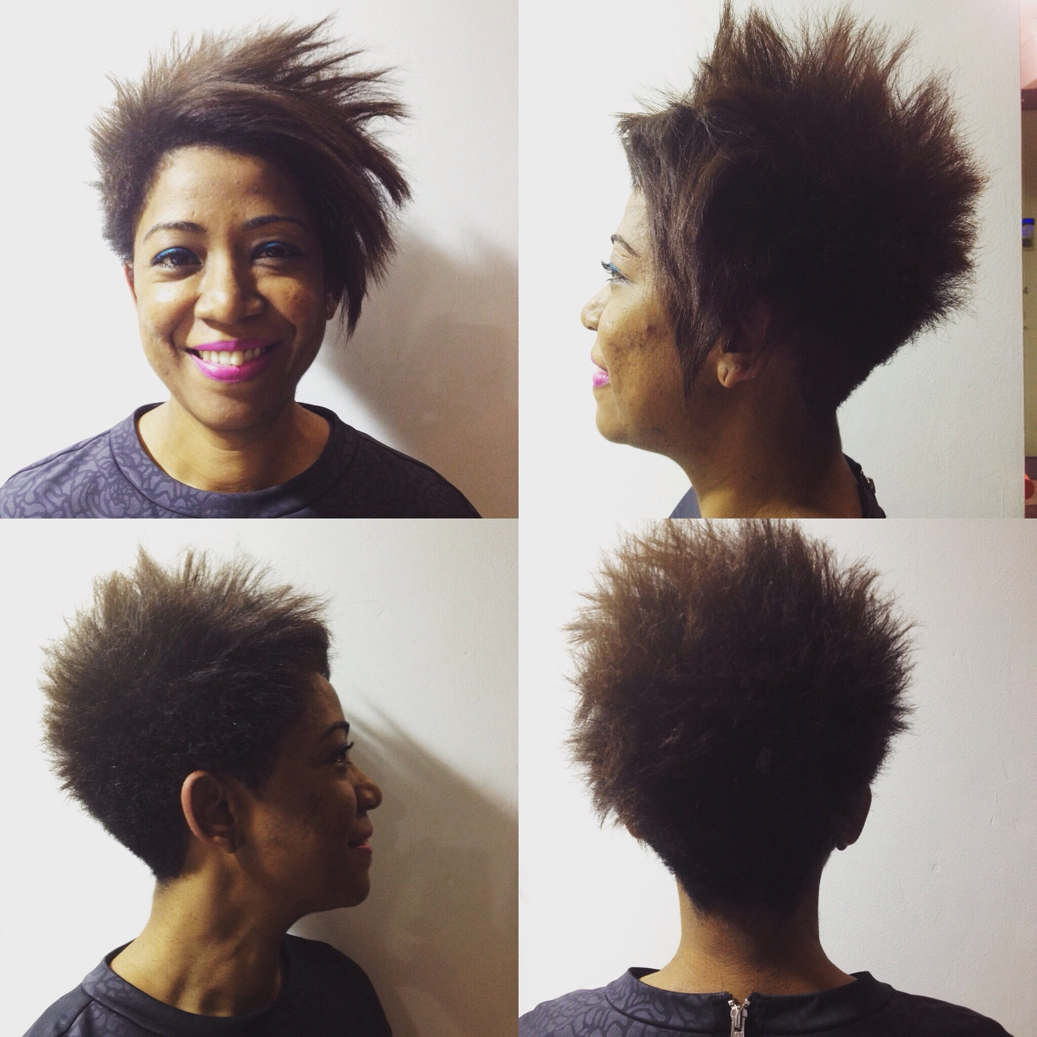 woman smiling with short haircut