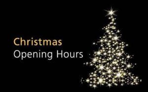Our Christmas opening hours!